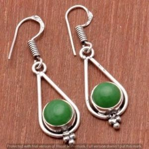 Ethnic Handmade 925 Silver Green Stone Earrings